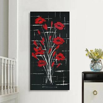 Красные цветы (картина масло/холст) 40х80х2 см