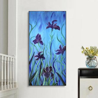 Синие цветы (картина масло/холст) 40х80х2 см