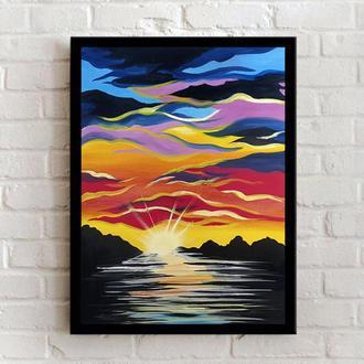 Закат (картина масло/оргалит) 35х45 см