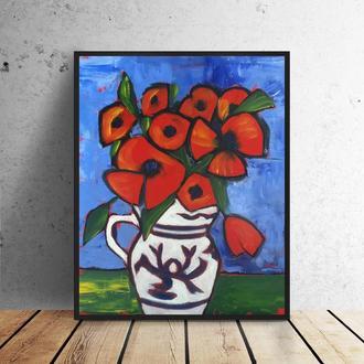 Цветы в вазе (картина масло/оргалит) 40х50 см
