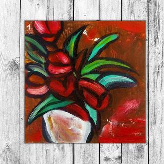 Букет тюльпанов (картина масло/оргалит) 20х20 см