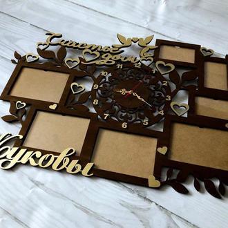 Фото рамка + часы из дерева фамильная