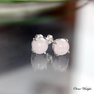 Серебряные серьги гвоздики с розовым кварцем, серьги гвоздики к камнями, серьги пусеты с камнями