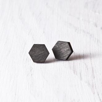 Черные сережки многогранники, Серьги гвоздики