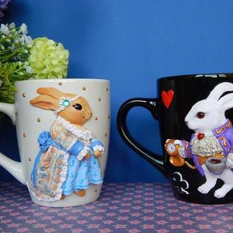 """Чайная пара """"Влюбленные кролики"""".Подарок на свадьбу.Чашки с полимерной глиной.Кружки с декором."""
