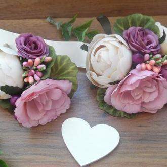 Комплект свадебных бутоньерок Бутоньерка для жениха, свидетеля Цветочный браслет для свидетельницы