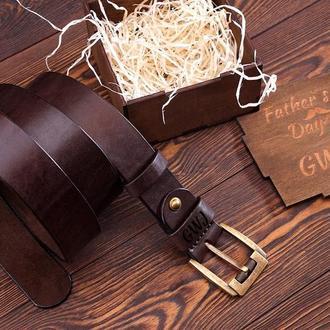 Мужской кожаный ремень Подарок мужчине Именной мужской подарок