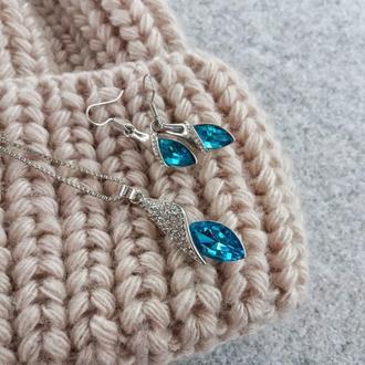 Очень красивый комплект с голубым кристаллом