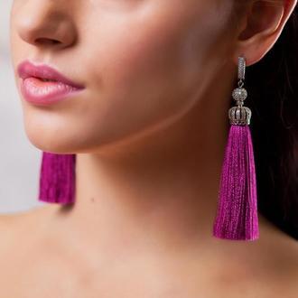Серьги-кисти ярко-розовые