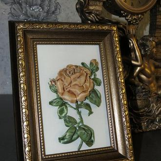 "Картина лентами ""Bronze rose"""