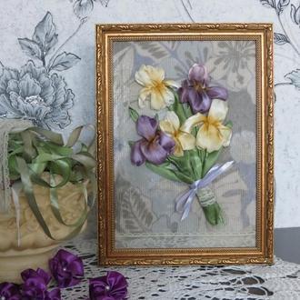 "Картина вышитая лентами ""Wonderful irises"""