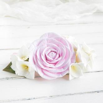 Веточка в прическу с розой и гортензией, Свадебный гребень с цветами