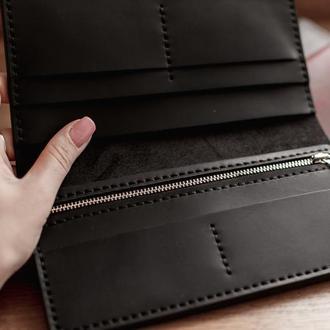 Кожаное портмоне-клатч, большое портмоне из натуральной кожи