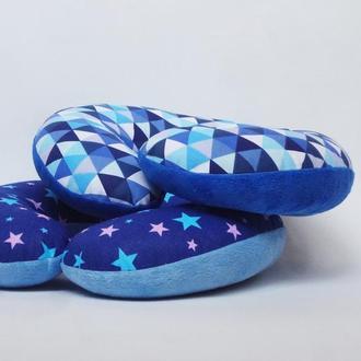 Дорожная подушка - геометрия, подушка для путешествий - ромбики, подушка для шеи - звезды