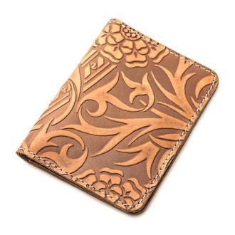 Обложка на ID паспорт, права кожаная Амелия 03 (светло-коричневый цветок)
