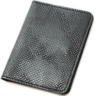 Обложка на ID паспорт, права кожаная Амелия 05 (черный питон)