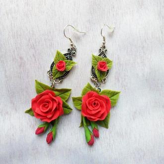 Серьги с Розами Серьги цветы