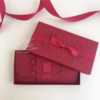"GiftBox ""Pino"" Цвет 4 (бордовый)- открытка в коробочке"