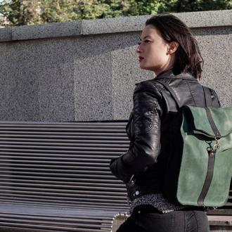 Женский кожаный рюкзак, яркий рюкзак, городской кожаный рюкзак, украинский рюкзак