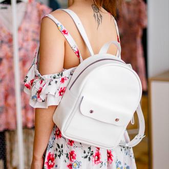 Белый кожаный рюкзак, маленький рюкзак для девушки, модный рюкзак для девушки, городской мини рюкзак