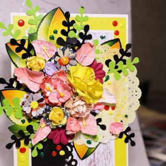 Цветочная открытка для девушки на День рожденья!