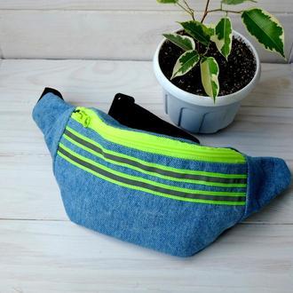 Сумка-бананка джинсовая, поясная сумка 12//Сумка-бананка джинсова, поясна сумка 12