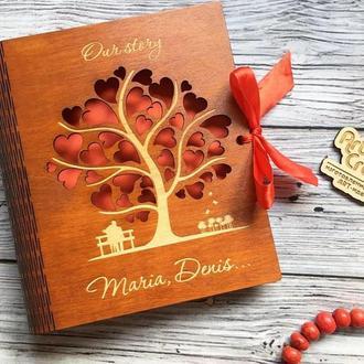 Фотоальбом в деревянной обложке с гравировкой (№2)