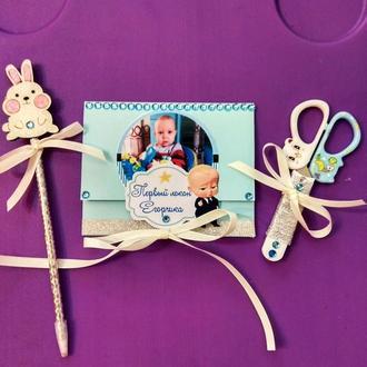 Набор для первого дня рождения малыша : ножницы  и конверт, возможно изготовление в любом цвете