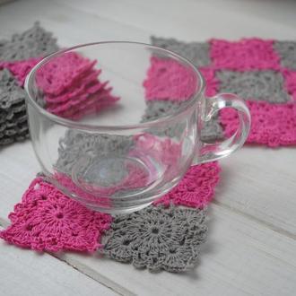 Набор подставок под чашки / чайный набор / набор розово-серых салфеток вязаных крючком