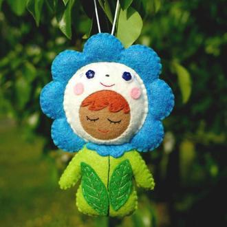 мягкая игрушка - малыш цветочек синий