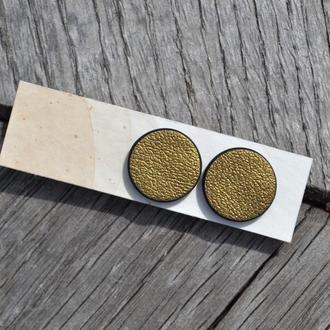 Геометрические серьги из серебра и натуральной кожи. Лаконичные серьги гвоздики