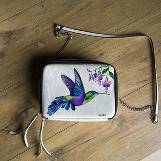 сумки, натуральная кожа, КОЛИБРИ, с художественной росписью