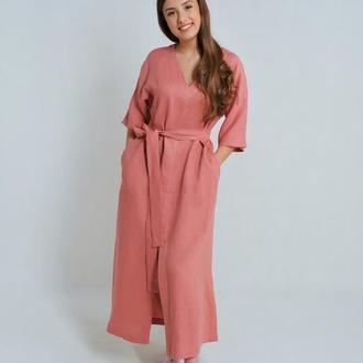 Лляна сукня з поясом лососевого кольору