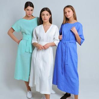 Льняное платье василькового цвета