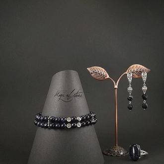 Комплект украшений из авантюрина и серебра 925 пр.
