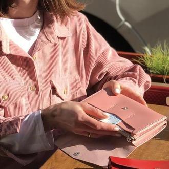Женский кожаный клатч кошелек (3 card) «Nice Powder» на кнопке с отделом для монет