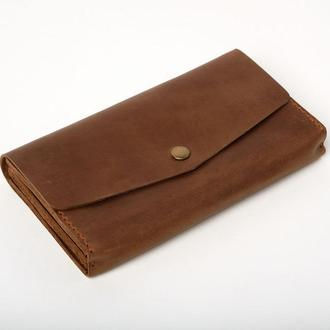 Женский мужской кожаный клатч кошелек (3 card) «Nice Olive» на кнопке с отделом для монет