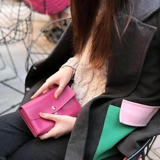 Женский  кожаный клатч кошелек (3 card) «Nice Fuchsia» на кнопке с отделом для монет