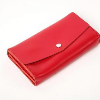 Женский красный кожаный клатч кошелек (3 card) «Nice Red» на кнопке с отделом для монет