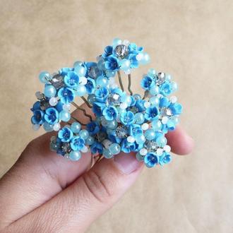 Голубые шпильки для волос, шпильки с цветами, украшения для причесок