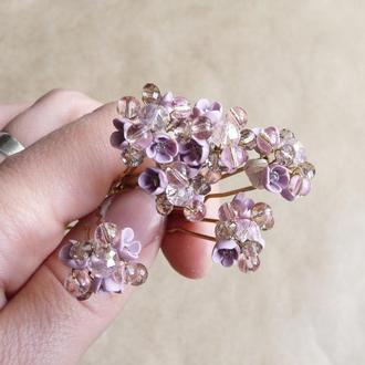 Розовые шпильки для волос, шпильки с цветами, украшения для причесок