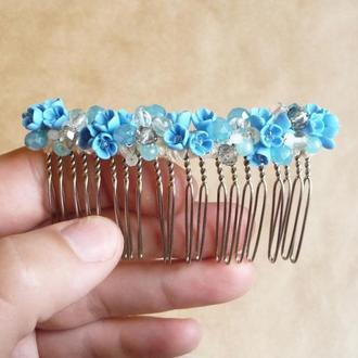 Голубой гребешок для волос, гребешок с цветами, свадебный гребешок