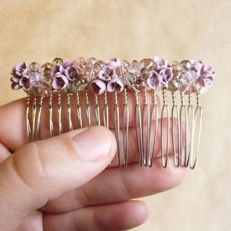 Розовый гребешок для волос, гребешок с цветами, свадебный гребешок