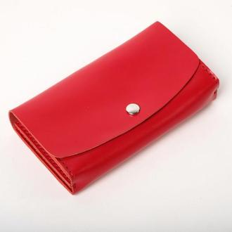 Женский красный кожаный клатч кошелек (2 card) «Proza Red» на кнопке с отделом для монет