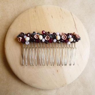 Бордовый гребешок для волос, гребешок с цветами, свадебный гребешок