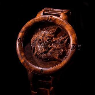 WOLFS!!! Наручний дерев'яний годинник. Дерев'яний браслет