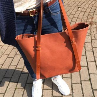 Кожаная женская сумка тоут. Шоппер.