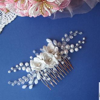 Свадебное украшение для волос, украшение в прическу невесте, гребешок в прическу