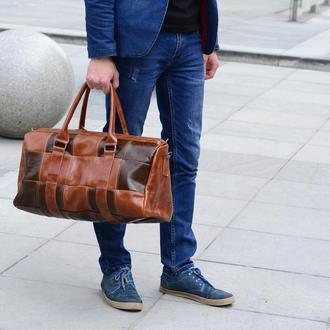 """Кожаный саквояж """"Hotel"""", Дорожная - спортивная кожаная сумка"""