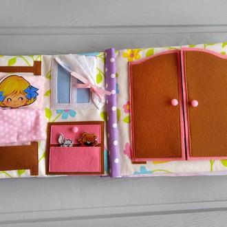Развивающая мягкая фетровая книжка с куколкой